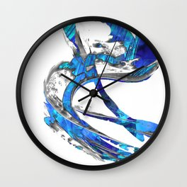Modern Blue And White Art Painting - Flowing 4 - Sharon Cummings Wall Clock