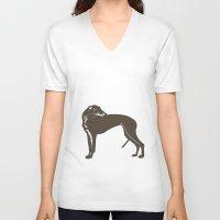 greyhound V-neck T-shirts featuring Greyhound Dog by ialbert
