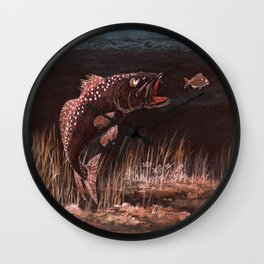 Trout Attack In Brown Wall Clock