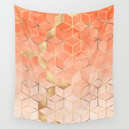 Soft Peach Gradient Cubes Wall Tapestry
