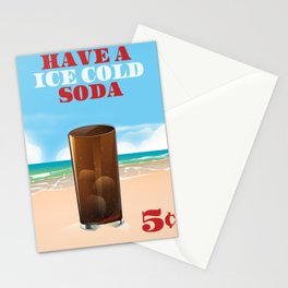 have a ice cold soda beach edition Stationery Cards