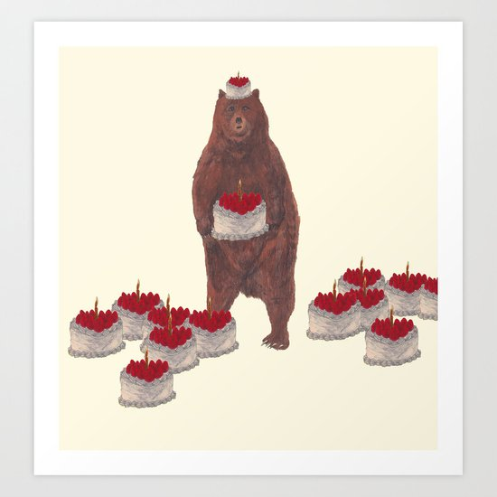 he baked so many  strawberry cakes. Art Print