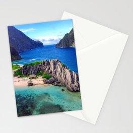 Scenic Tropical Island Sandy Beach Blue Sea Stationery Cards
