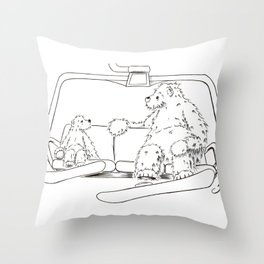 Snowboarding Bears on a Chair Throw Pillow