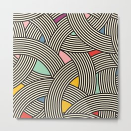 Modern Scandinavian Multi Colour Color Curve Graphic Metal Print