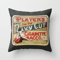 smoking Throw Pillows featuring Smoking by mentalembellisher