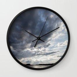 Dark Clouds Coming Over Lake In Scandinavia Wall Clock
