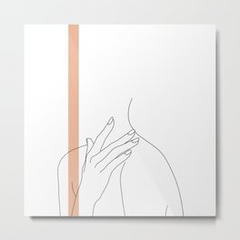 Hands line drawing illustration - Danna stripe Metal Print
