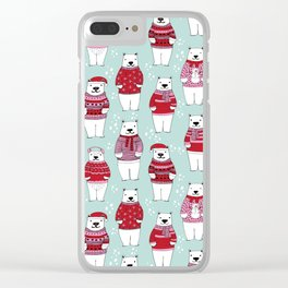 Polar Bear character cute christmas sweater polar bears nature illustration pattern Clear iPhone Case
