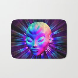 Alien Meditation on Rainbow Colors Bath Mat