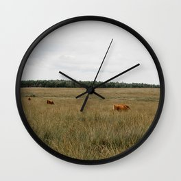 Highland Cows eating grass | Scottish Highlanders, cattle, cows in the Netherlands | Wild animals | Fine art travel and nature photography Wall Clock
