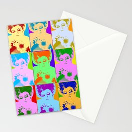 Poster with girl in popart style Stationery Cards