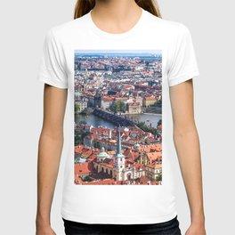 Prague Cityscape | Red Rooftop Landscape Photograph of the Old Romantic City Bridge T-shirt