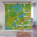 Green, Turquoise, and White Retro Flower Design Pattern by eyestigmatic_design