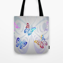 Big Butterflies with grey background Tote Bag