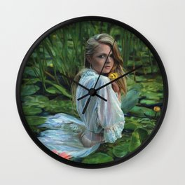 """""""Lady in the Lily Pads"""" Wall Clock"""