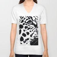 cheetah V-neck T-shirts featuring cheetah by Augusto Menestrina