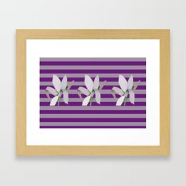 Grey Flowers-Abstract on Striped Purple Background Framed Art Print