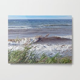 Waves Rolling up the Beach Metal Print