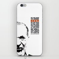 bukowski iPhone & iPod Skins featuring beer&bukowski by radiozimbra