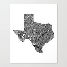 Typographic Texas Canvas Print