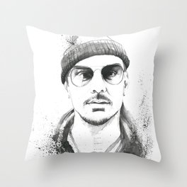 Shannon Leto Watercolor Black & White Throw Pillow