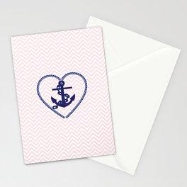 Blush pink chevron navy blue vintage nautical anchor Stationery Cards