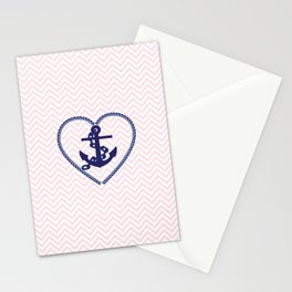 Blush pink chevron navy blue vintage nautical anchor Stationery Cards