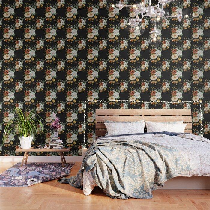 Wildflower Bouquet on Charcoal Wallpaper