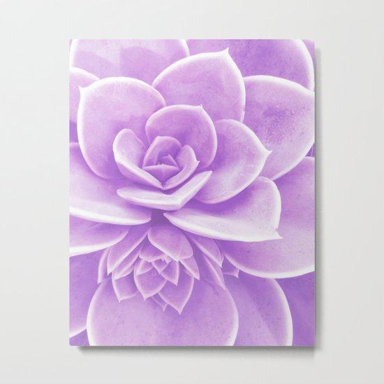Purple Succulent Reflection Metal Print
