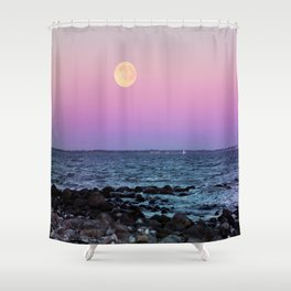 Full Moon on Blue Hour Shower Curtain