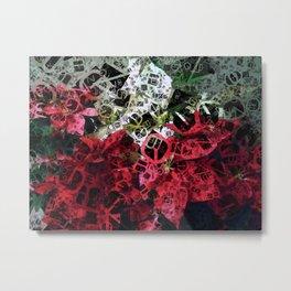 Mixed color Poinsettias 3 Letters 4 Metal Print