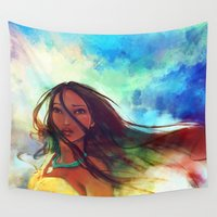 pocahontas Wall Tapestries featuring The Wind... by Alice X. Zhang