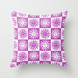 Mid Century Modern Sun Pattern Magenta Throw Pillow