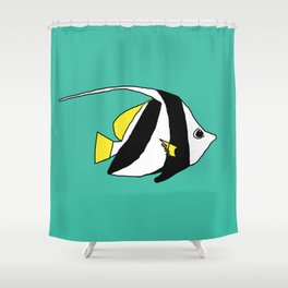 Schooling Bannerfish natural colors Shower Curtain
