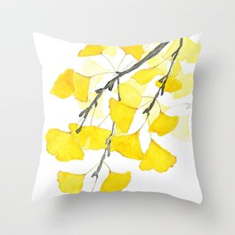 Golden Ginkgo Leaves Throw Pillow