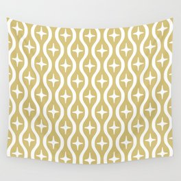 Mid century Modern Bulbous Star Pattern Gold Wall Tapestry