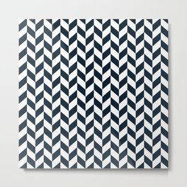 Dark Navy Blue Herringbone Pattern Metal Print