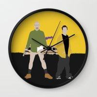 breaking bad Wall Clocks featuring Breaking Bad by Bill Pyle