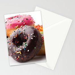 Group of glazed donuts, isolated on white background Stationery Cards