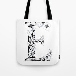 Floral Pen and Ink Letter E Tote Bag
