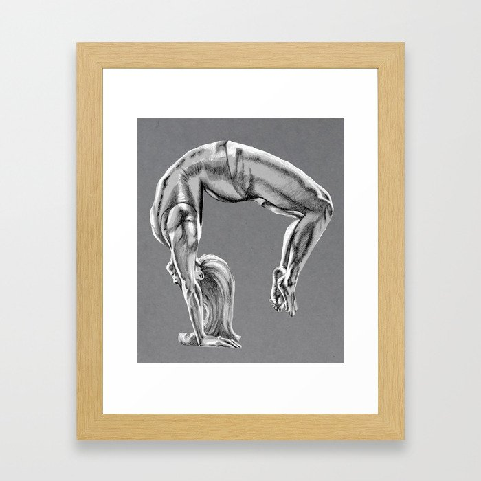 Bend Over Backwards Greyscale Framed Art Print