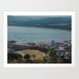 Looking down on New Quay (Wales) Art Print