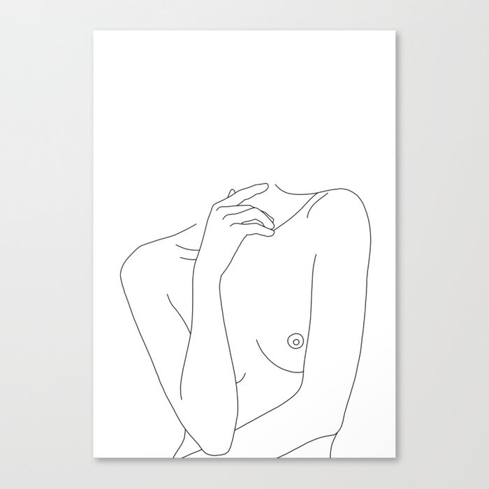 Woman's body line drawing - Cecily Canvas Print