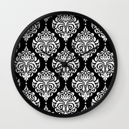 Black Monochrome Damask Pattern Wall Clock