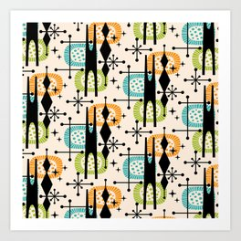 Retro Atomic Mid Century Pattern Orange Green and Turquoise Art Print