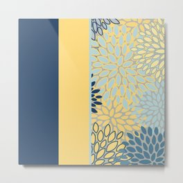 Modern, Color Block, Floral Prints, Blue and Yellow Metal Print
