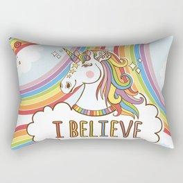 Rainbow Unicorn - I Believe in Magic Rectangular Pillow