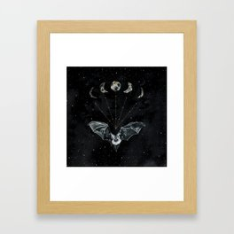 Bat and Moon Phases, Black and Gold Painting, Celestial Stars Moon Witchy Framed Art Print