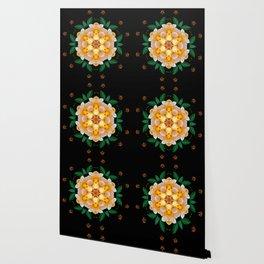 Yellow flower motif Wallpaper
